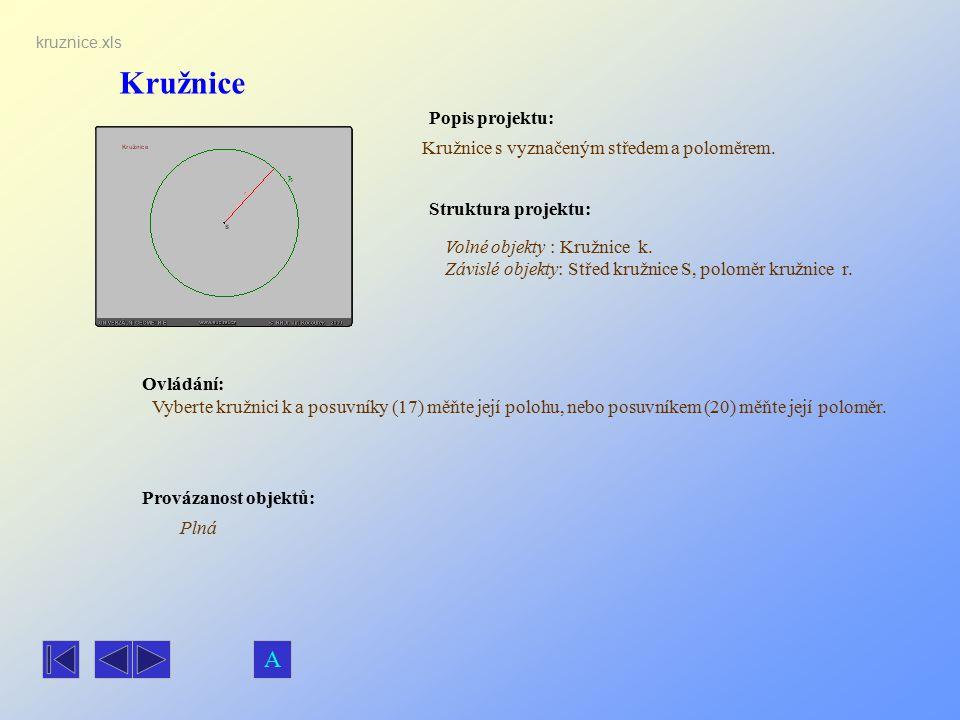 Kružnice Popis projektu: Ovládání: Struktura projektu: Provázanost objektů: kruznice.xls Kružnice s vyznačeným středem a poloměrem. Plná Volné objekty