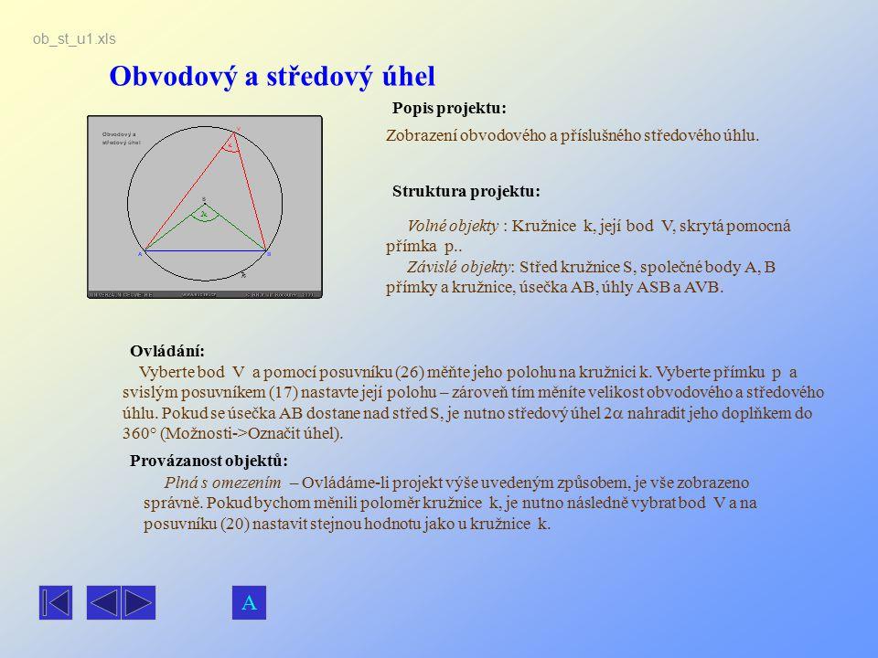 Obvodový a středový úhel Popis projektu: Ovládání: Struktura projektu: Provázanost objektů: ob_st_u1.xls Zobrazení obvodového a příslušného středového