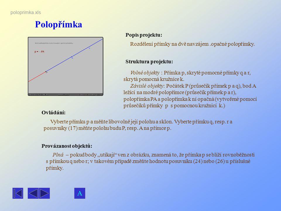 Polopřímka Popis projektu: Rozdělení přímky na dvě navzájem.opačné polopřímky. Ovládání: Vyberte přímku p a měňte libovolně její polohu a sklon. Vyber