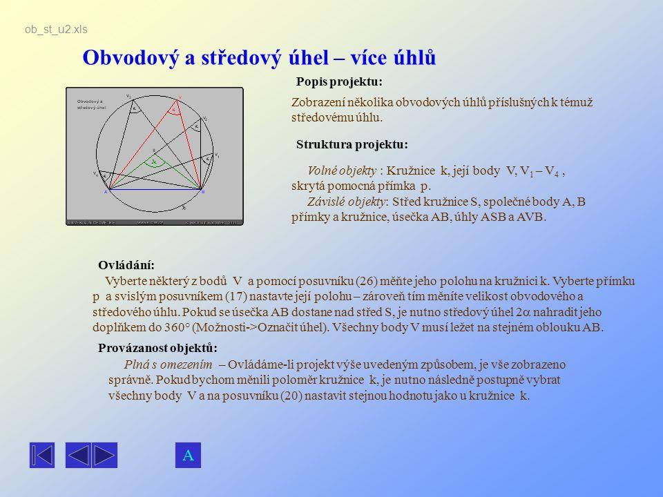 Obvodový a středový úhel – více úhlů Popis projektu: Ovládání: Struktura projektu: Provázanost objektů: ob_st_u2.xls Zobrazení několika obvodových úhl