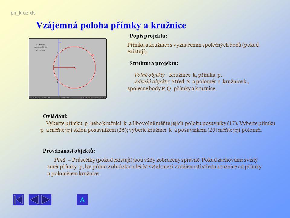 Vzájemná poloha přímky a kružnice Popis projektu: Ovládání: Struktura projektu: Provázanost objektů: pri_kruz.xls Přímka a kružnice s vyznačením spole