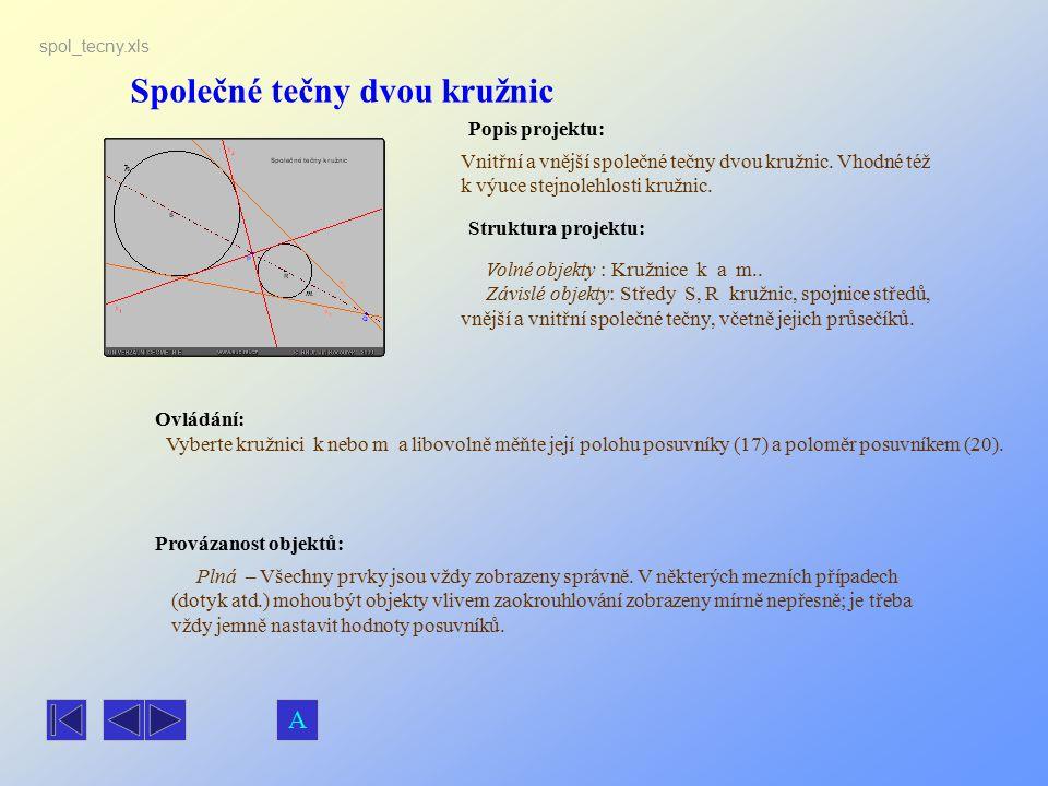 Společné tečny dvou kružnic Popis projektu: Ovládání: Struktura projektu: Provázanost objektů: spol_tecny.xls Vnitřní a vnější společné tečny dvou kru