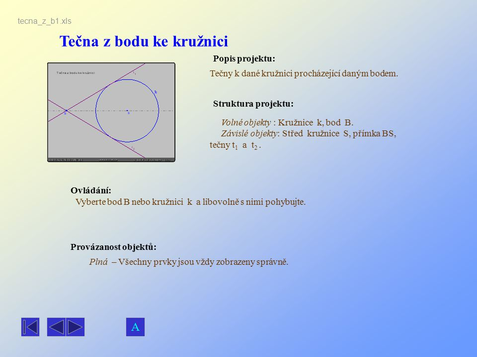 Tečna z bodu ke kružnici Popis projektu: Ovládání: Struktura projektu: Provázanost objektů: tecna_z_b1.xls Tečny k dané kružnici procházející daným bo