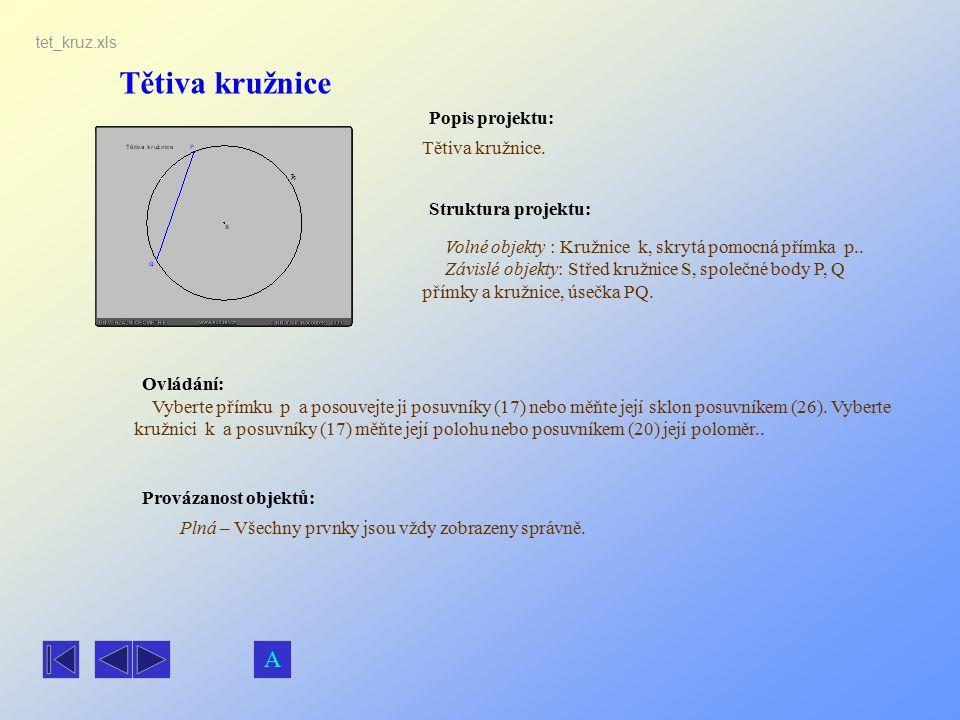 Tětiva kružnice Popis projektu: Ovládání: Struktura projektu: Provázanost objektů: tet_kruz.xls Tětiva kružnice. Plná – Všechny prvnky jsou vždy zobra