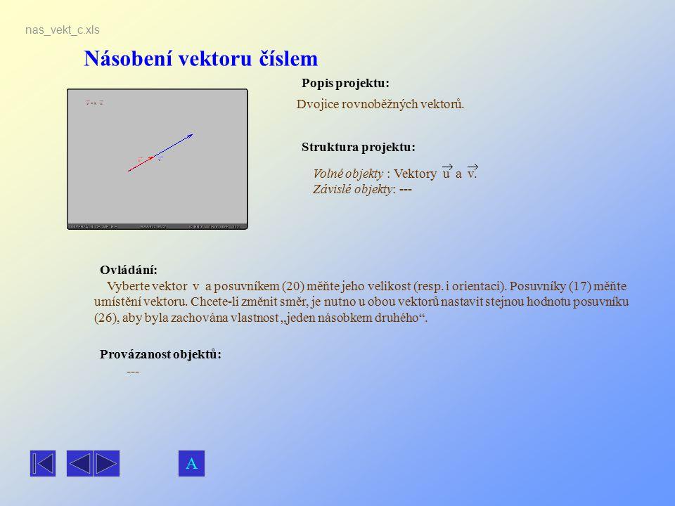Násobení vektoru číslem Popis projektu: Ovládání: Struktura projektu: Provázanost objektů: nas_vekt_c.xls Dvojice rovnoběžných vektorů. --- Volné obje