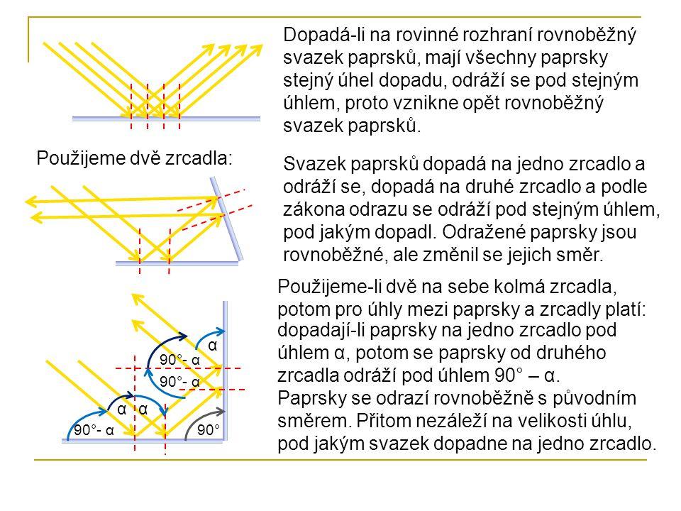Umístíme-li kolmo ke dvěma zrcadlům třetí, takto vzniklý kout zachytí světelné paprsky z libovolného směru a odrazí je do směru, odkud přišly – princip odrazky.