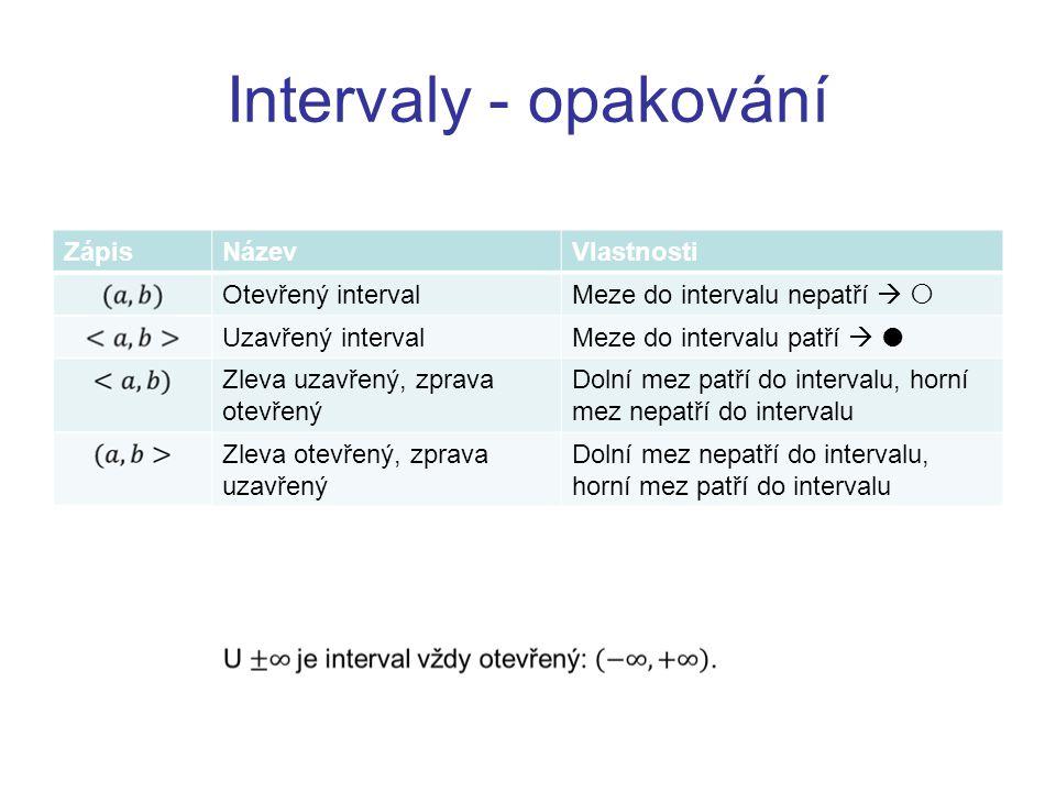 Intervaly - opakování ZápisNázevVlastnosti Otevřený intervalMeze do intervalu nepatří   Uzavřený intervalMeze do intervalu patří   Zleva uzavřený,