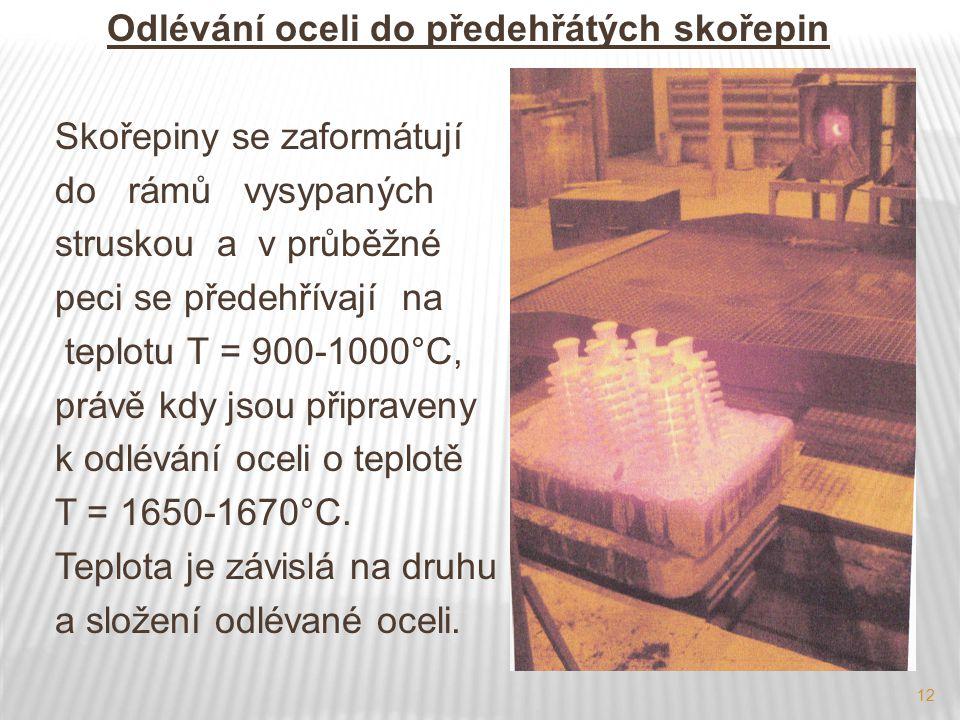 12 Odlévání oceli do předehřátých skořepin Skořepiny se zaformátují do rámů vysypaných struskou a v průběžné peci se předehřívají na teplotu T = 900-1