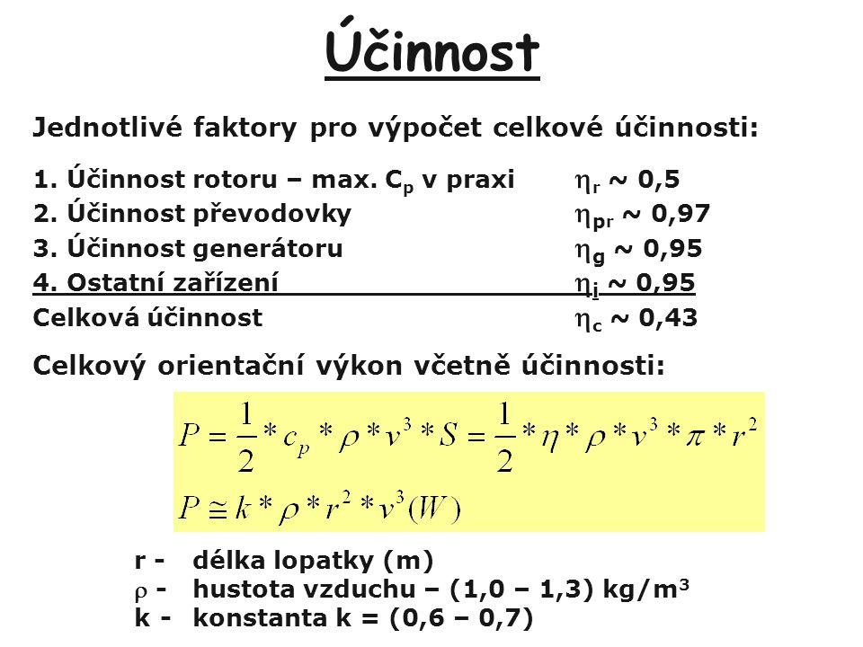 Účinnost Jednotlivé faktory pro výpočet celkové účinnosti: 1.Účinnost rotoru – max. C p v praxi  r ~ 0,5 2.Účinnost převodovky  p r ~ 0,97 3.Účinnos
