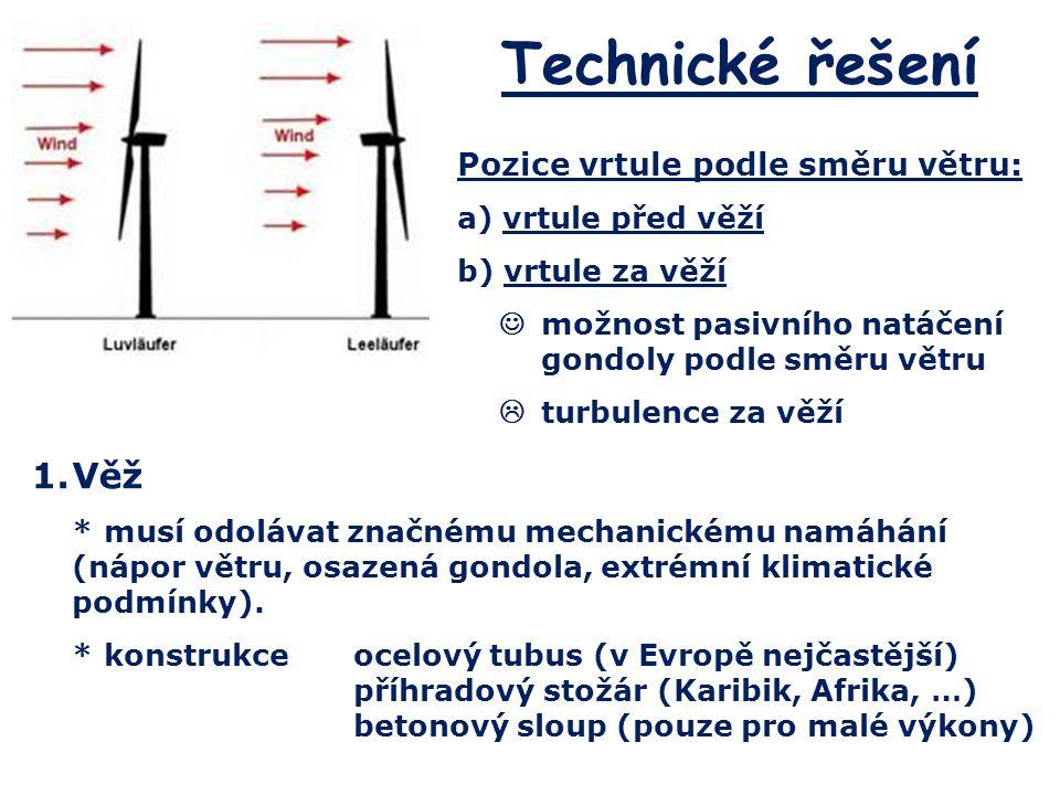 Technické řešení 1.Věž *musí odolávat značnému mechanickému namáhání (nápor větru, osazená gondola, extrémní klimatické podmínky). *konstrukceocelový
