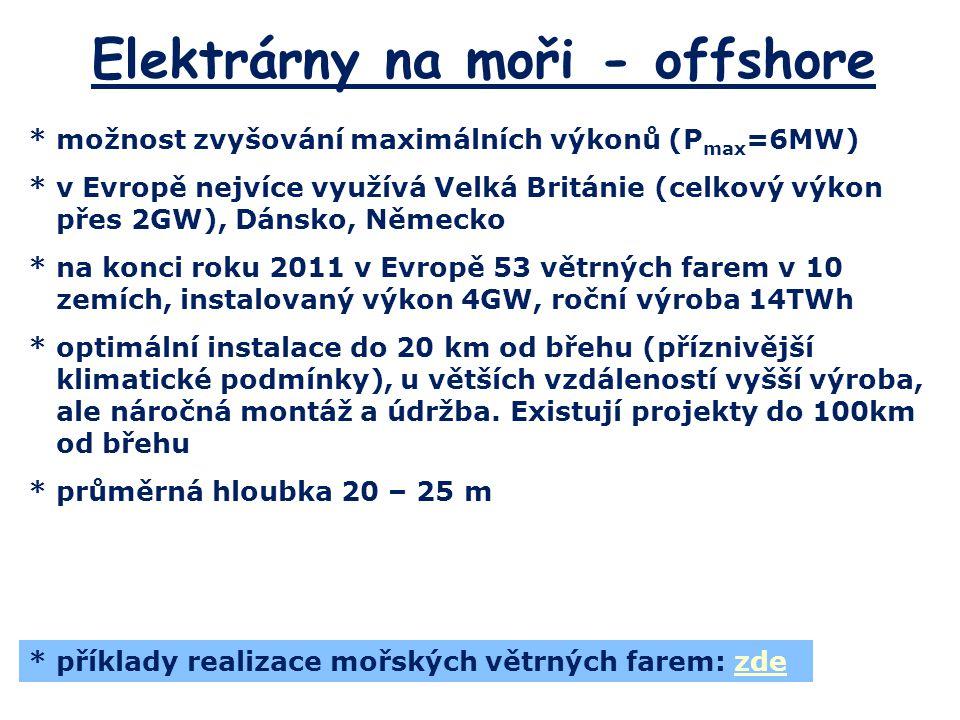 Elektrárny na moři - offshore *možnost zvyšování maximálních výkonů (P max =6MW) *v Evropě nejvíce využívá Velká Británie (celkový výkon přes 2GW), Dá