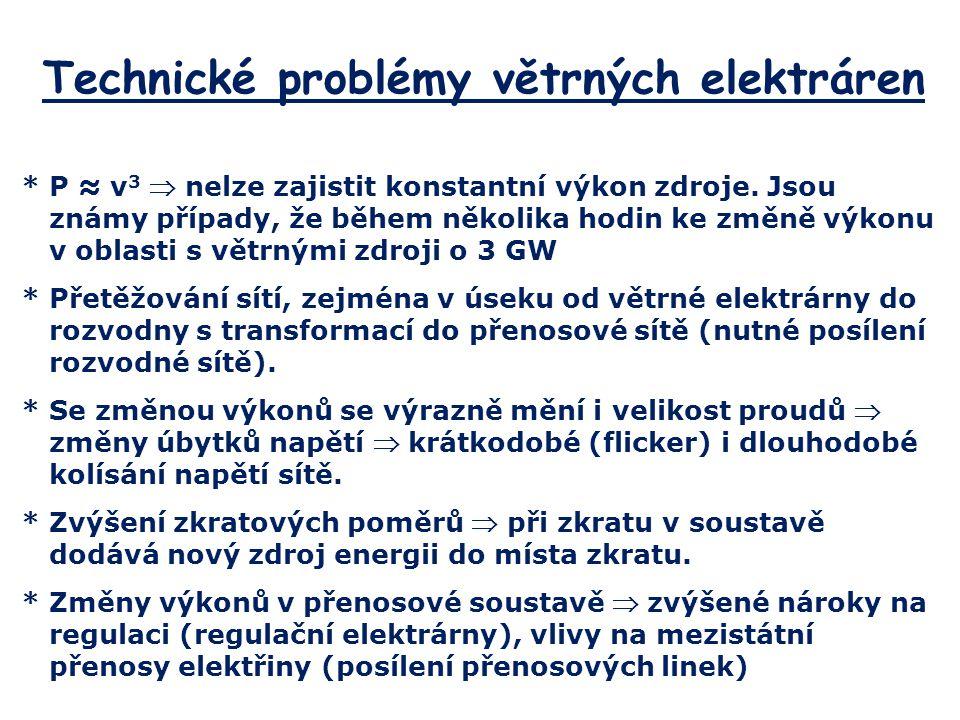 Technické problémy větrných elektráren *P ≈ v 3  nelze zajistit konstantní výkon zdroje. Jsou známy případy, že během několika hodin ke změně výkonu
