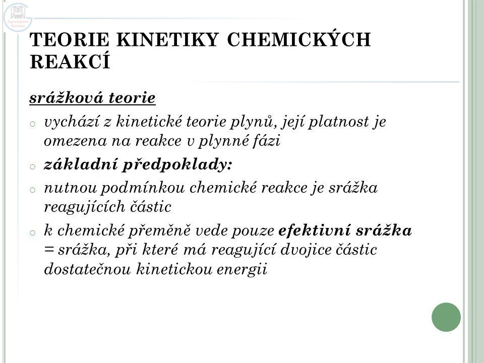 TEORIE KINETIKY CHEMICKÝCH REAKCÍ srážková teorie o vychází z kinetické teorie plynů, její platnost je omezena na reakce v plynné fázi o základní před