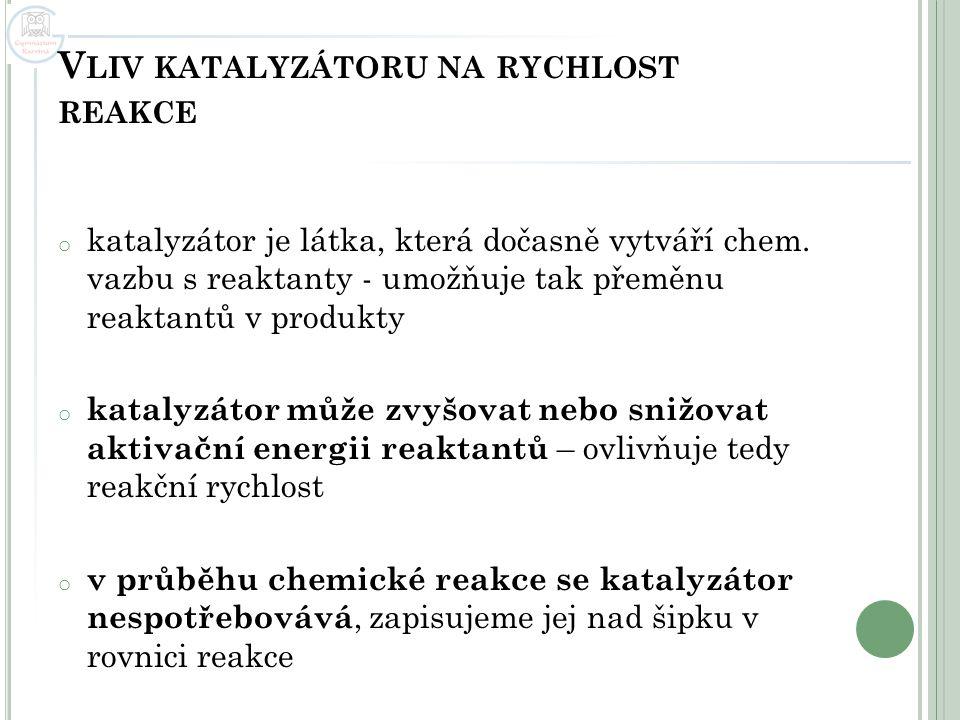 V LIV KATALYZÁTORU NA RYCHLOST REAKCE o katalyzátor je látka, která dočasně vytváří chem. vazbu s reaktanty - umožňuje tak přeměnu reaktantů v produkt