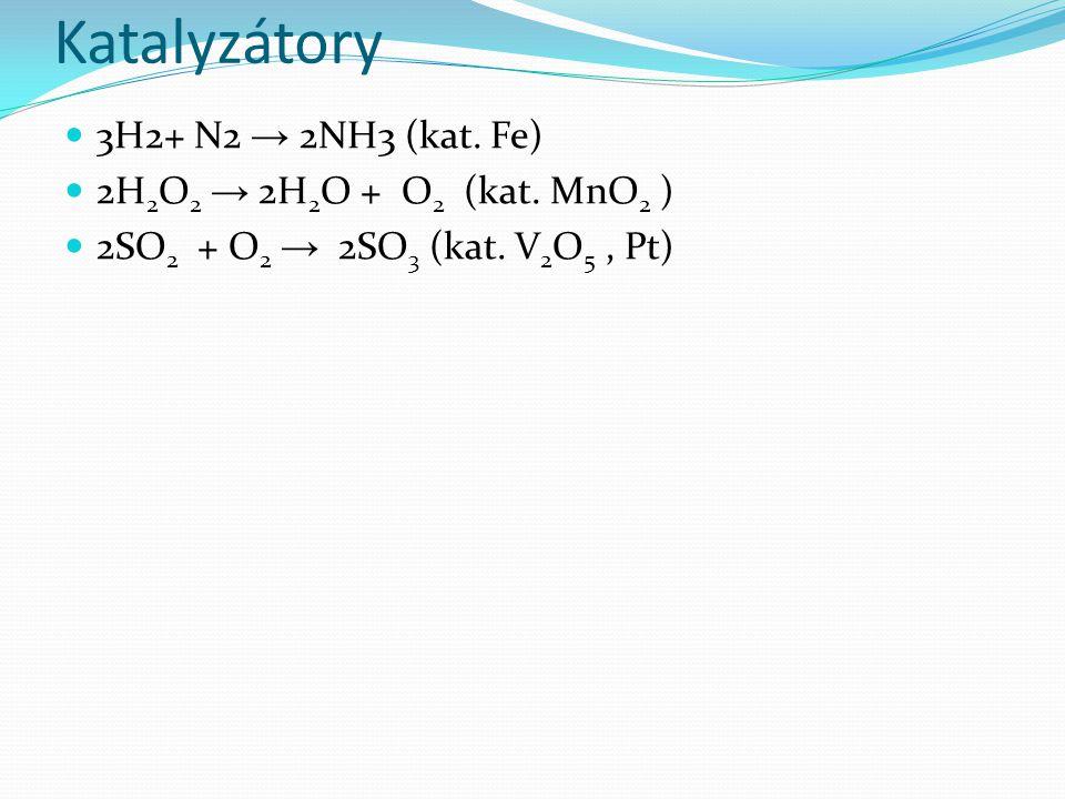 3H2+ N2 → 2NH3 (kat. Fe) 2H 2 O 2 → 2H 2 O + O 2 (kat.