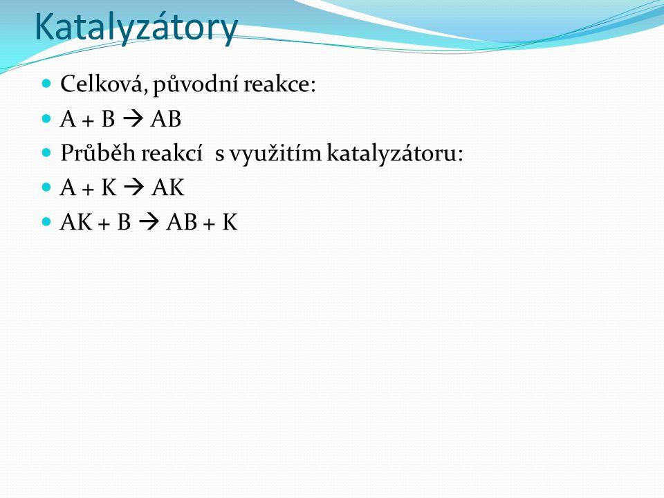 Katalyzátory Celková, původní reakce: A + B  AB Průběh reakcí s využitím katalyzátoru: A + K  AK AK + B  AB + K