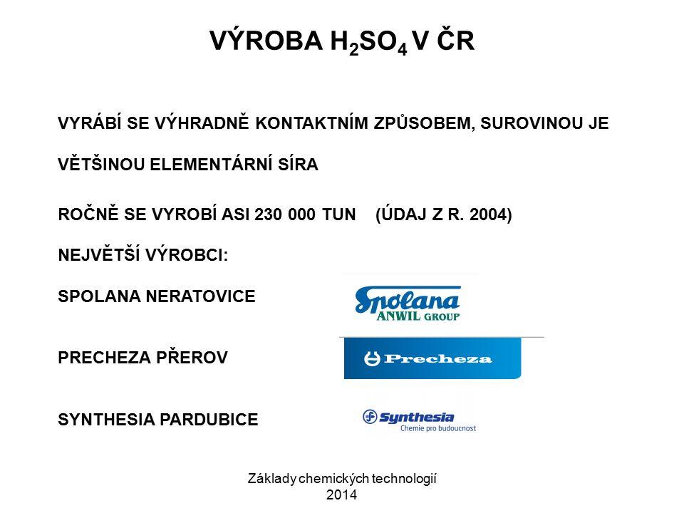 Základy chemických technologií 2014 VÝROBA H 2 SO 4 V ČR VYRÁBÍ SE VÝHRADNĚ KONTAKTNÍM ZPŮSOBEM, SUROVINOU JE VĚTŠINOU ELEMENTÁRNÍ SÍRA ROČNĚ SE VYROB