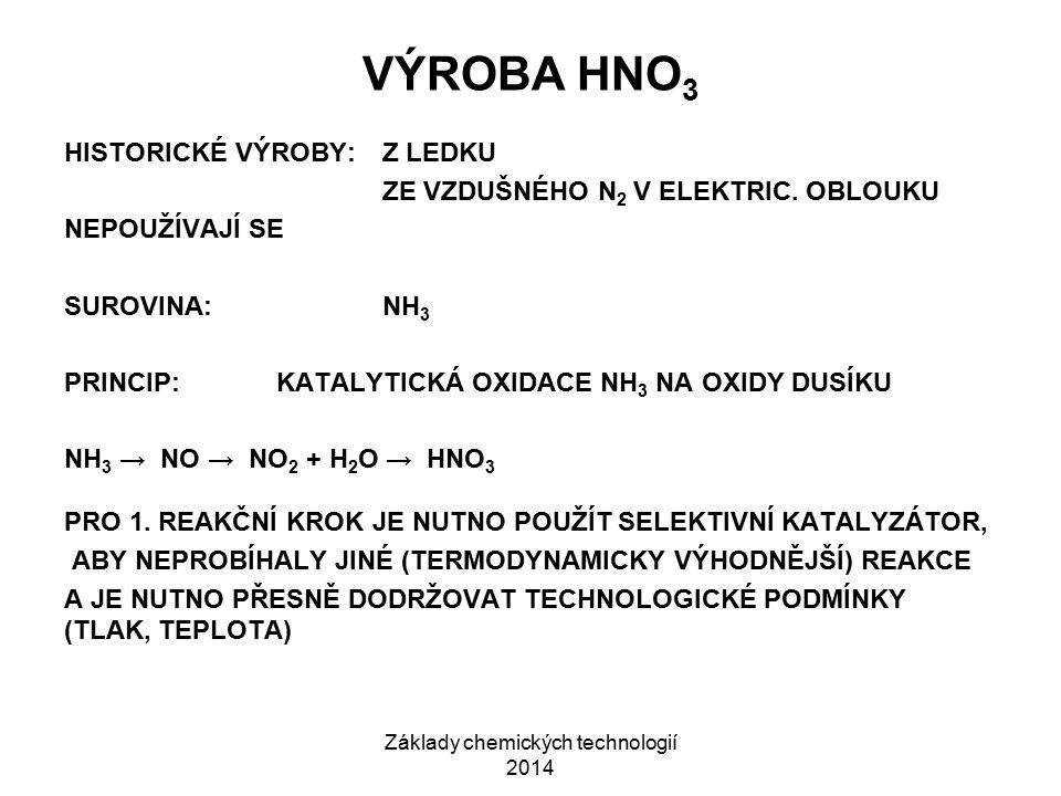 Základy chemických technologií 2014 VÝROBA HNO 3 HISTORICKÉ VÝROBY:Z LEDKU ZE VZDUŠNÉHO N 2 V ELEKTRIC. OBLOUKU NEPOUŽÍVAJÍ SE SUROVINA:NH 3 PRINCIP:K
