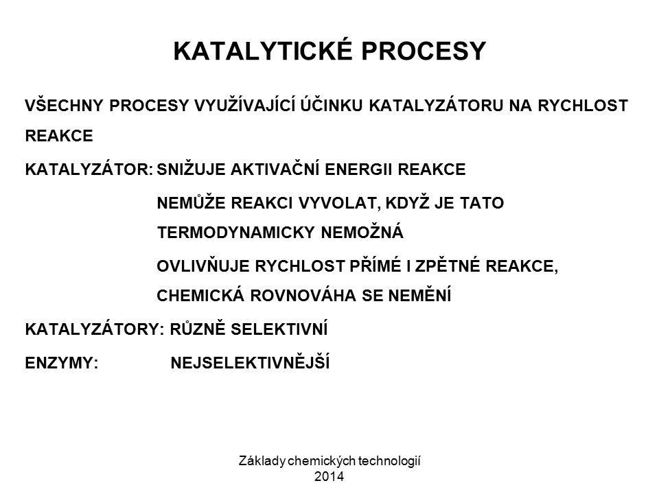 Základy chemických technologií 2014 KATALÝZA 1)HOMOGENNÍ:VÝCHOZÍ LÁTKY, MEZIPRODUKTY, PRODUKTY I KATALYZÁTOR JSOU VE STEJNÉ FÁZI 2)HETEROGENNÍ:ZÚČASTNĚNÉ LÁTKY JSOU V RŮZNÝCH FÁZÍCH PRŮMYSLOVÝ KATALYZÁTOR 1)VLASTNÍ KATALYTICKY AKTIVNÍ LÁTKA 2)NOSIČ:ODOLNÁ, LACINÁ LÁTKA S DOSTATEČNĚ VELKÝM POVRCHEM (KŘEMELINA, SILIKAGEL, ALUMINA) 3)AKTIVÁTOR: ZVYŠUJE AKTIVITU KATALYZÁTORU KATALYTICKÝ JED: SNIŽUJE ÚČINNOST KATALYZÁTORU, RUŠÍ PRŮBĚH KATALÝZY