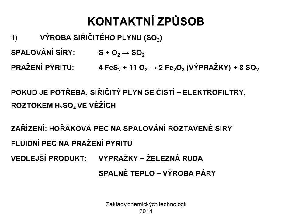 Základy chemických technologií 2014 KONTAKTNÍ ZPŮSOB 1)VÝROBA SIŘIČITÉHO PLYNU (SO 2 ) SPALOVÁNÍ SÍRY: S + O 2 → SO 2 PRAŽENÍ PYRITU: 4 FeS 2 + 11 O 2