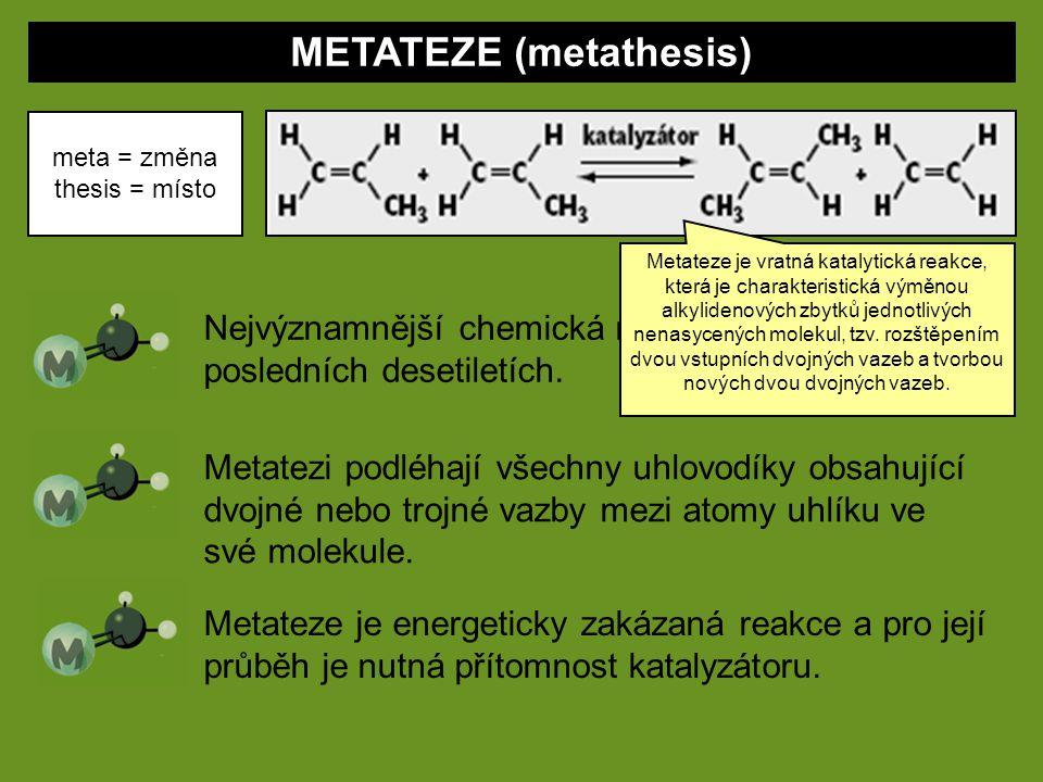 METATEZE (metathesis) meta = změna thesis = místo Nejvýznamnější chemická reakce objevená v posledních desetiletích. Metatezi podléhají všechny uhlovo