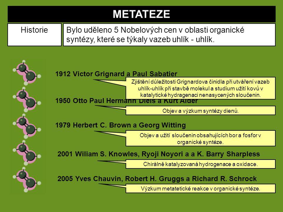 METATEZE HistorieBylo uděleno 5 Nobelových cen v oblasti organické syntézy, které se týkaly vazeb uhlík - uhlík. 1912 Victor Grignard a Paul Sabatier