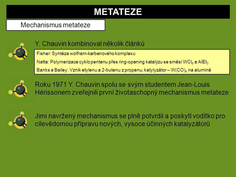 METATEZE Mechanismus metateze Y. Chauvin kombinoval několik článků Fisher: Syntéza wolfram-karbenového komplexu Natta: Polymerizace cyklo pentenu přes
