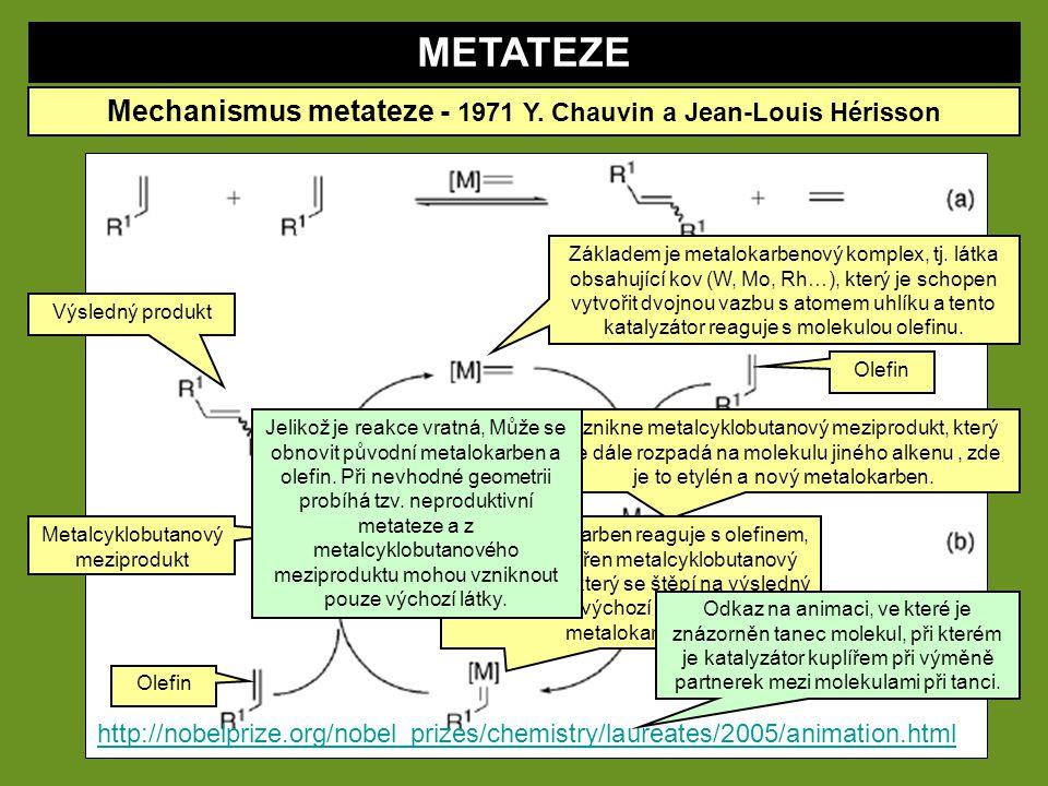 METATEZE Mechanismus metateze - 1971 Y. Chauvin a Jean-Louis Hérisson http://nobelprize.org/nobel_prizes/chemistry/laureates/2005/animation.html Zákla