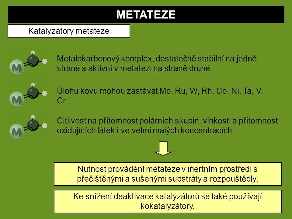 METATEZE Katalyzátory metateze Metalokarbenový komplex, dostatečně stabilní na jedné straně a aktivní v metatezi na straně druhé. Úlohu kovu mohou zas