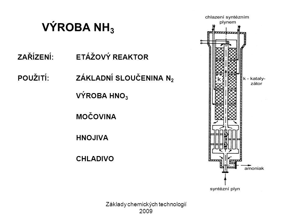 Základy chemických technologií 2009 VÝROBA NH 3 ZAŘÍZENÍ:ETÁŽOVÝ REAKTOR POUŽITÍ:ZÁKLADNÍ SLOUČENINA N 2 VÝROBA HNO 3 MOČOVINA HNOJIVA CHLADIVO