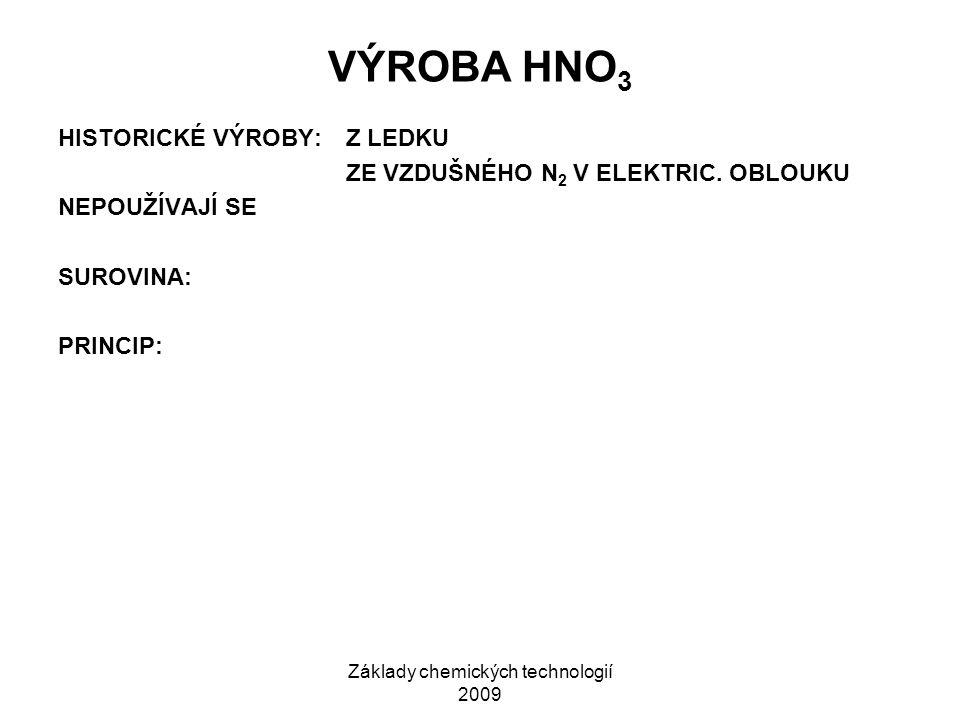 Základy chemických technologií 2009 VÝROBA HNO 3 HISTORICKÉ VÝROBY:Z LEDKU ZE VZDUŠNÉHO N 2 V ELEKTRIC.