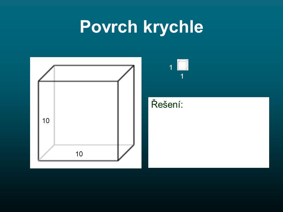 10 1 1 Povrch krychle Řešení: S = 6.a. A S = 6. 10.