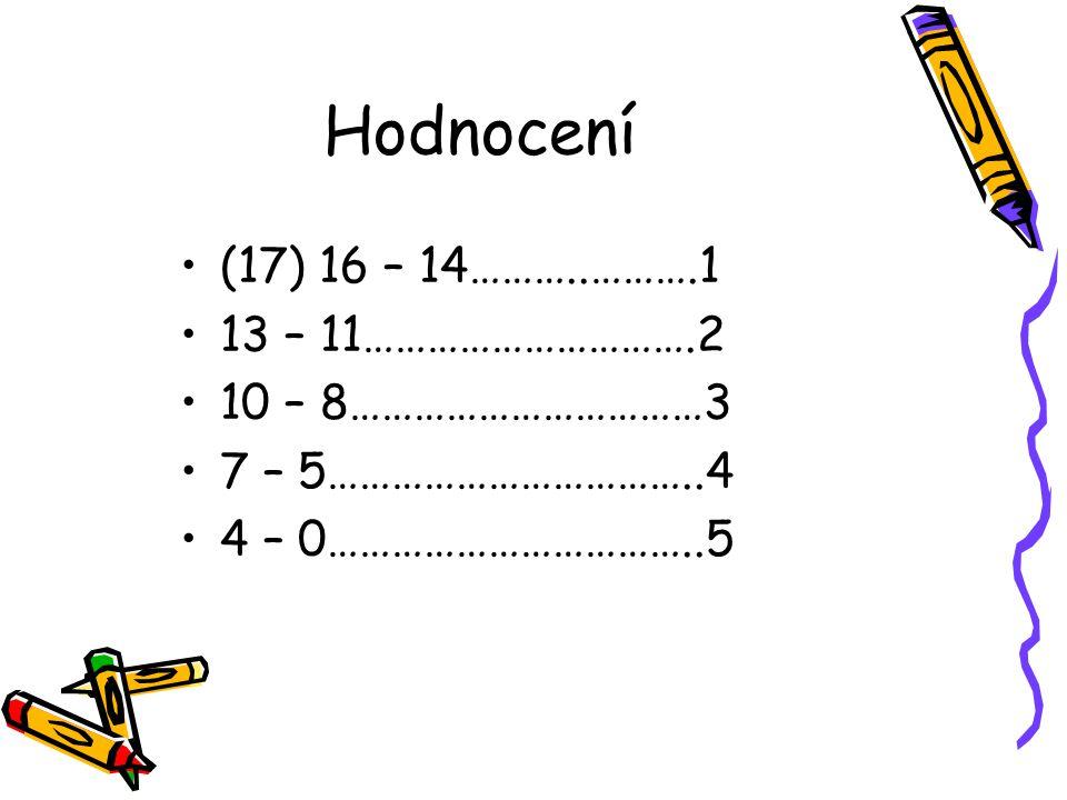 Hodnocení (17) 16 – 14………..……….1 13 – 11………………………….2 10 – 8……………………………3 7 – 5……………………………..4 4 – 0……………………………..5