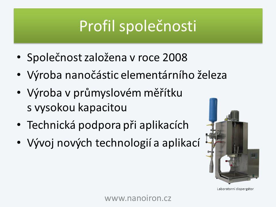 Profil společnosti Společnost založena v roce 2008 Výroba nanočástic elementárního železa Výroba v průmyslovém měřítku s vysokou kapacitou Technická p