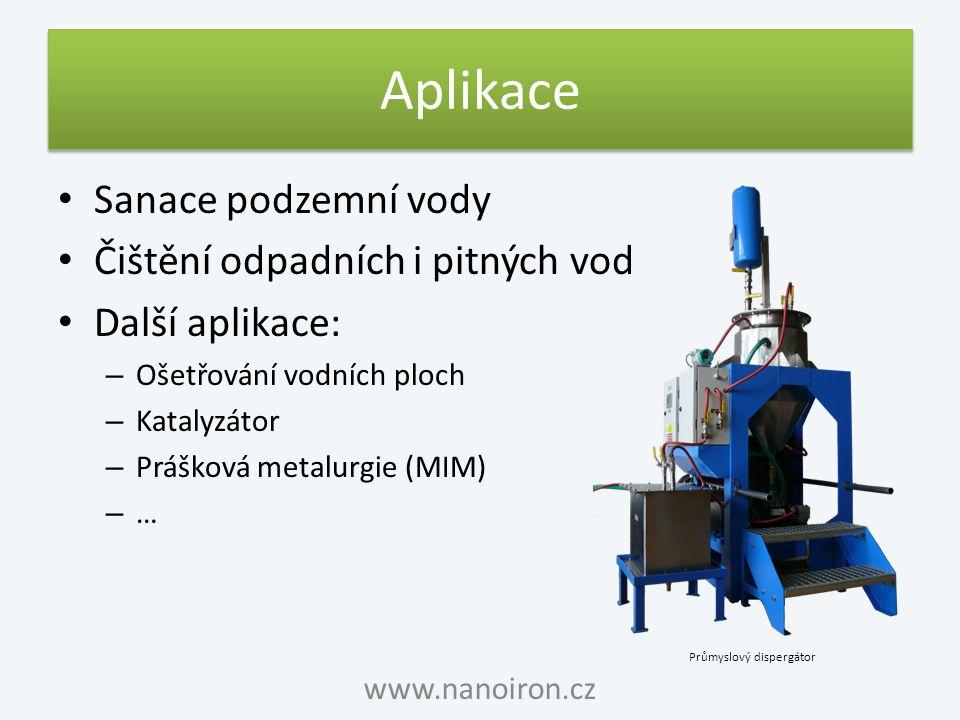 Aplikace Sanace podzemní vody Čištění odpadních i pitných vod Další aplikace: – Ošetřování vodních ploch – Katalyzátor – Prášková metalurgie (MIM) – …