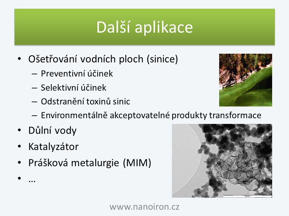 Další aplikace Ošetřování vodních ploch (sinice) – Preventivní účinek – Selektivní účinek – Odstranění toxinů sinic – Environmentálně akceptovatelné p
