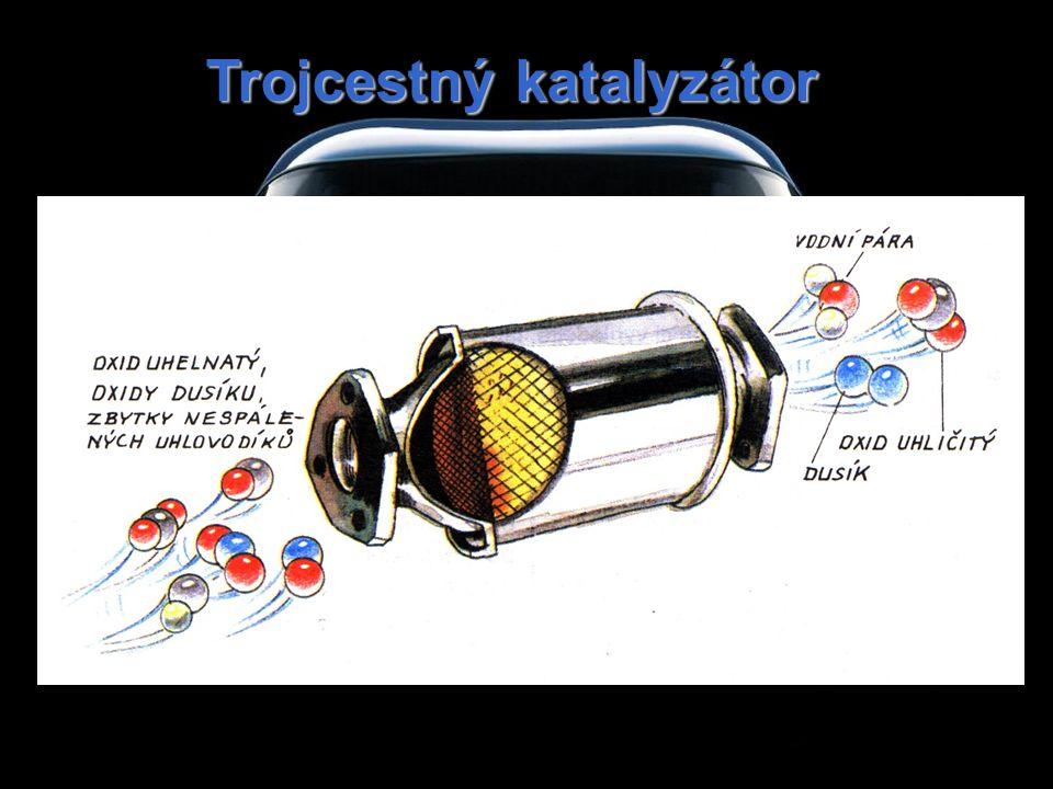 Trojcestný katalyzátor redukce oxidů dusíku na dusík: 2NO x → xO 2 + N 2 oxidace oxidu uhelnatého na oxid uhličitý: 2CO + O2 → 2CO2 oxidace nespálených uhlovodíků na oxid uhličitý a vodu: CxHy + nO2 → xCO2 + mH2O