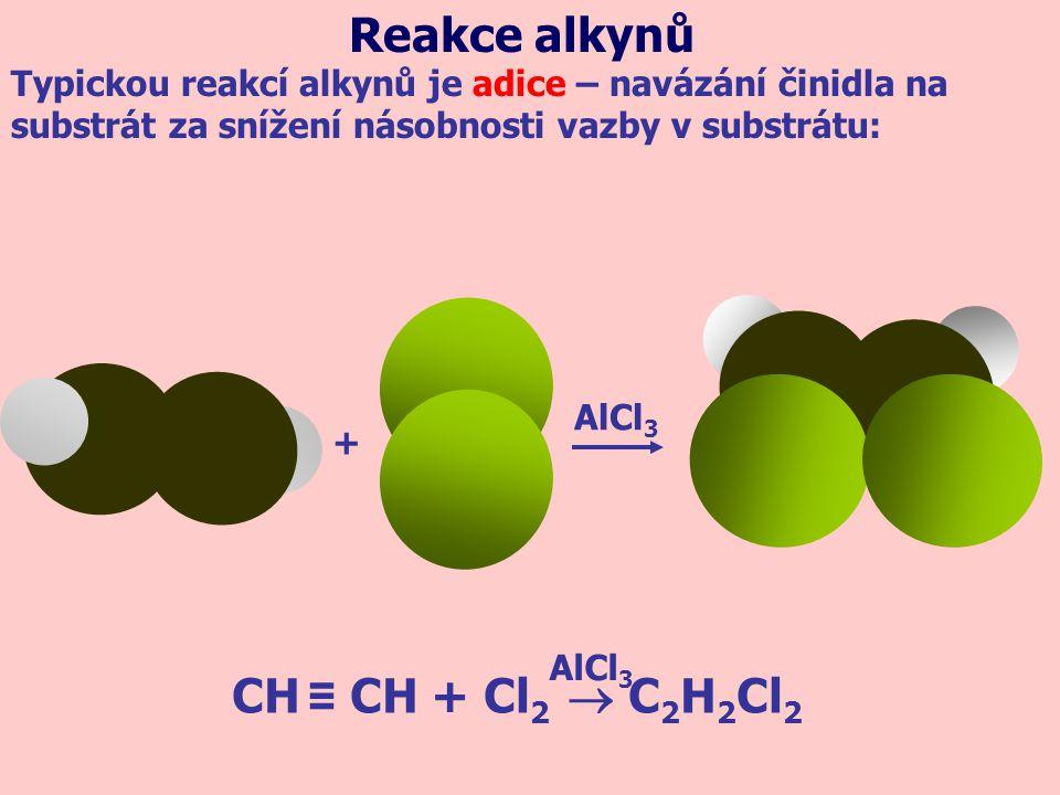 + AlCl 3 CH ≡ CH + Cl 2  C 2 H 2 Cl 2 AlCl 3 Typickou reakcí alkynů je adice – navázání činidla na substrát za snížení násobnosti vazby v substrátu: