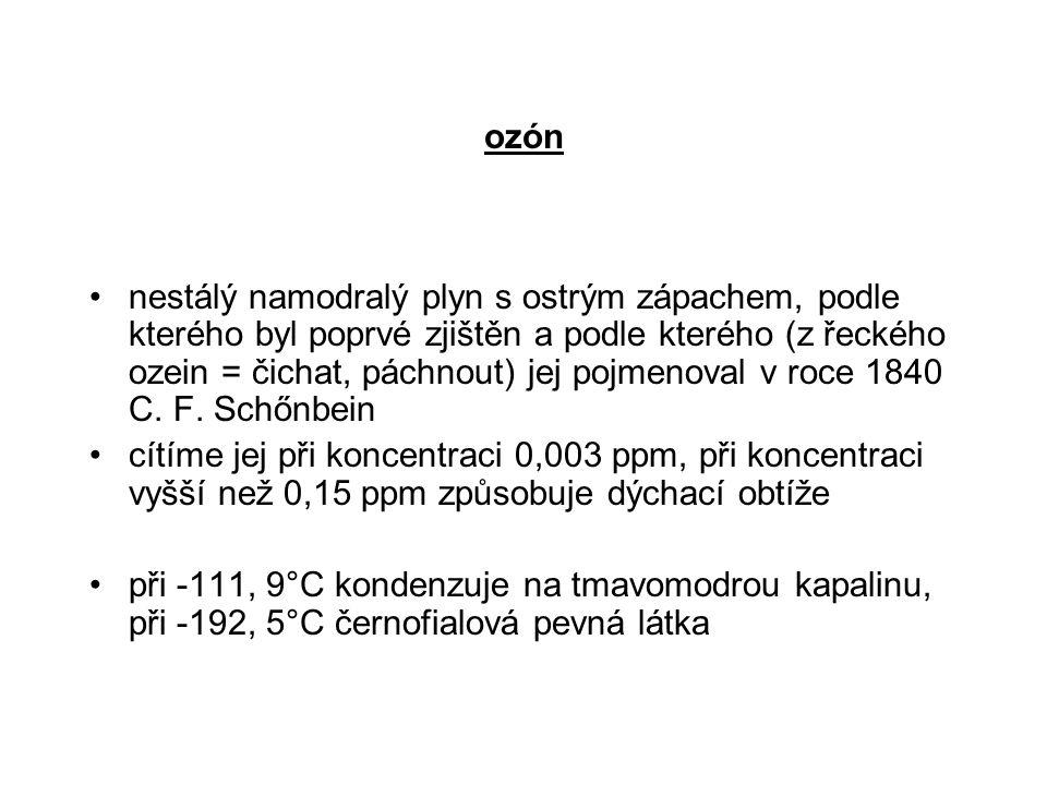 ozón nestálý namodralý plyn s ostrým zápachem, podle kterého byl poprvé zjištěn a podle kterého (z řeckého ozein = čichat, páchnout) jej pojmenoval v