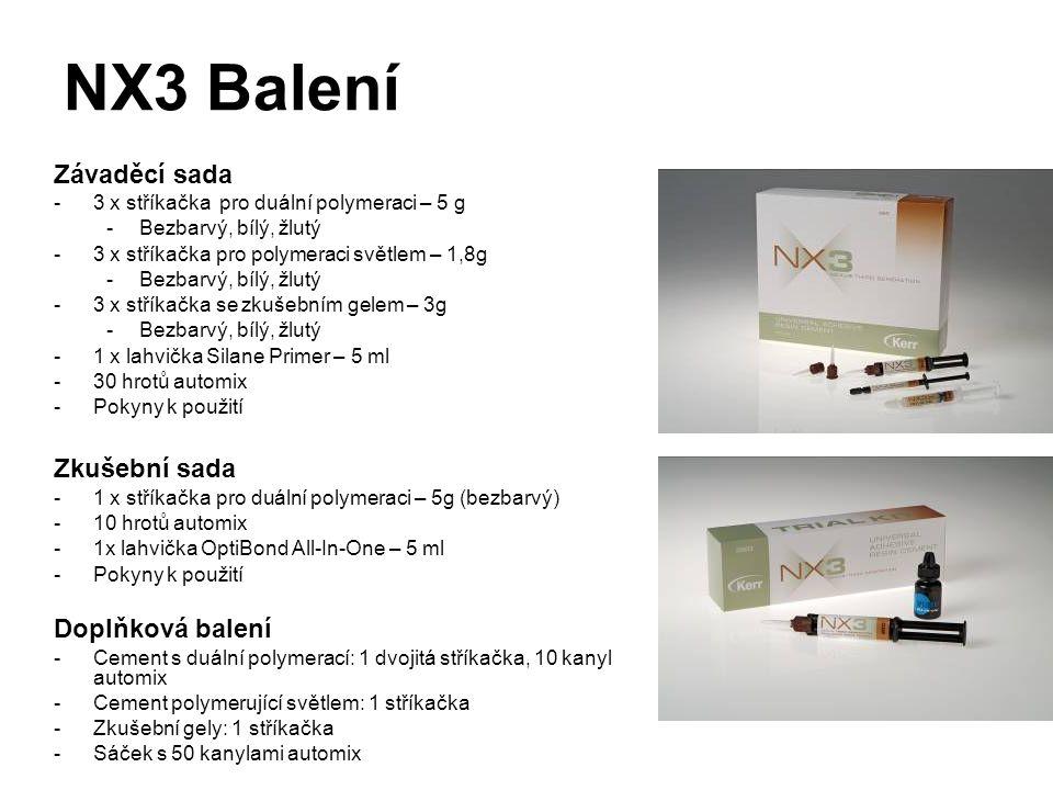 NX3 Balení Závaděcí sada -3 x stříkačka pro duální polymeraci – 5 g -Bezbarvý, bílý, žlutý -3 x stříkačka pro polymeraci světlem – 1,8g -Bezbarvý, bílý, žlutý -3 x stříkačka se zkušebním gelem – 3g -Bezbarvý, bílý, žlutý -1 x lahvička Silane Primer – 5 ml -30 hrotů automix -Pokyny k použití Zkušební sada -1 x stříkačka pro duální polymeraci – 5g (bezbarvý) -10 hrotů automix -1x lahvička OptiBond All-In-One – 5 ml -Pokyny k použití Doplňková balení -Cement s duální polymerací: 1 dvojitá stříkačka, 10 kanyl automix -Cement polymerující světlem: 1 stříkačka -Zkušební gely: 1 stříkačka -Sáček s 50 kanylami automix