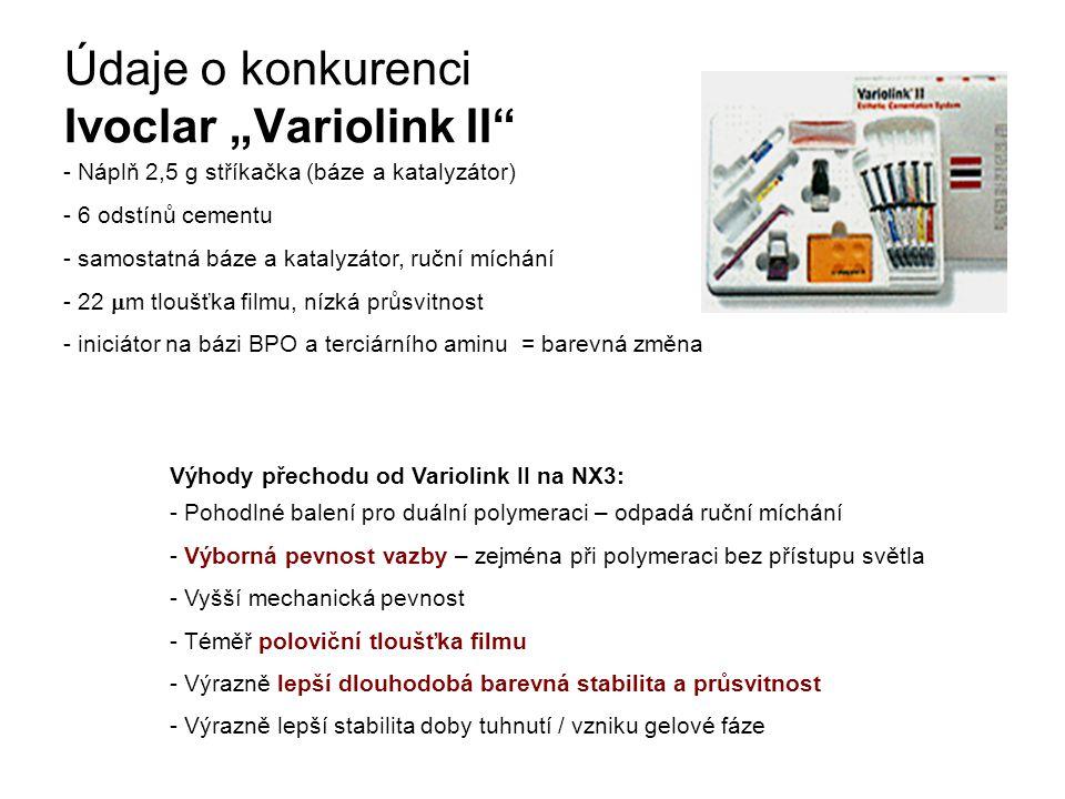 """Údaje o konkurenci Ivoclar """"Variolink II - Náplň 2,5 g stříkačka (báze a katalyzátor) - 6 odstínů cementu - samostatná báze a katalyzátor, ruční míchání - 22  m tloušťka filmu, nízká průsvitnost - iniciátor na bázi BPO a terciárního aminu = barevná změna Výhody přechodu od Variolink II na NX3: - Pohodlné balení pro duální polymeraci – odpadá ruční míchání - Výborná pevnost vazby – zejména při polymeraci bez přístupu světla - Vyšší mechanická pevnost - Téměř poloviční tloušťka filmu - Výrazně lepší dlouhodobá barevná stabilita a průsvitnost - Výrazně lepší stabilita doby tuhnutí / vzniku gelové fáze"""