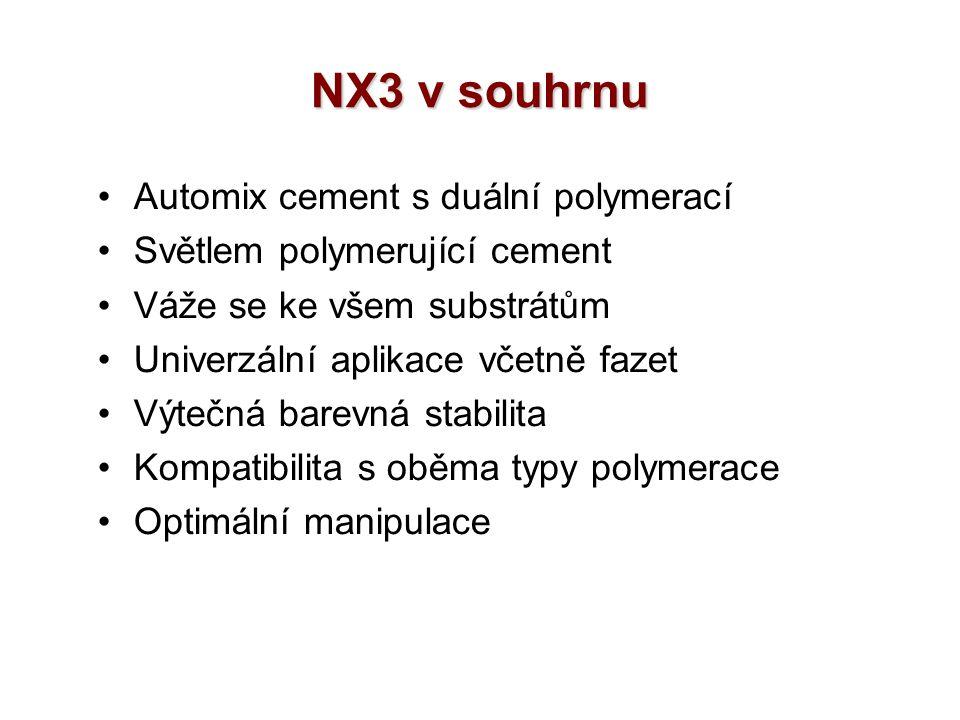 NX3 v souhrnu Automix cement s duální polymerací Světlem polymerující cement Váže se ke všem substrátům Univerzální aplikace včetně fazet Výtečná barevná stabilita Kompatibilita s oběma typy polymerace Optimální manipulace