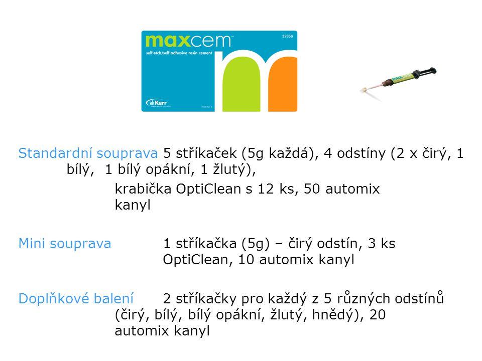 Standardní souprava 5 stříkaček (5g každá), 4 odstíny (2 x čirý, 1 bílý, 1 bílý opákní, 1 žlutý), krabička OptiClean s 12 ks, 50 automix kanyl Mini souprava1 stříkačka (5g) – čirý odstín, 3 ks OptiClean, 10 automix kanyl Doplňkové balení 2 stříkačky pro každý z 5 různých odstínů (čirý, bílý, bílý opákní, žlutý, hnědý), 20 automix kanyl