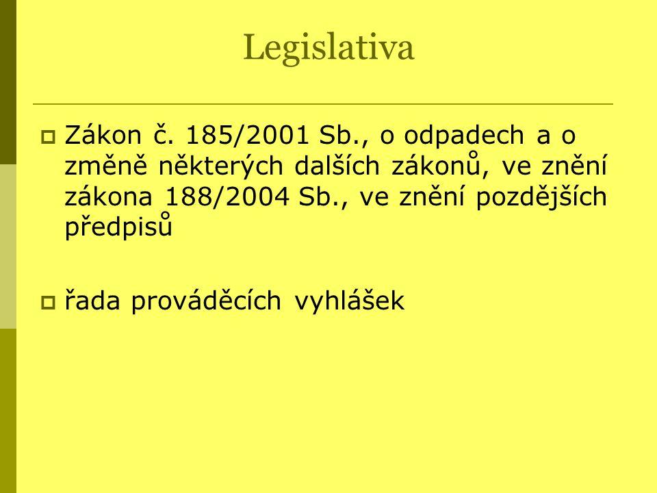 Legislativa  Zákon č. 185/2001 Sb., o odpadech a o změně některých dalších zákonů, ve znění zákona 188/2004 Sb., ve znění pozdějších předpisů  řada