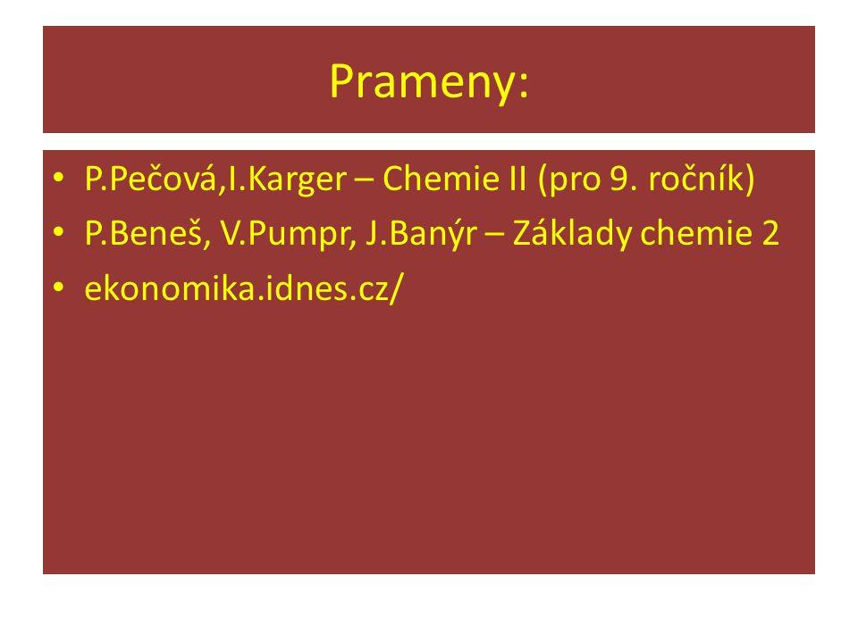 Prameny: P.Pečová,I.Karger – Chemie II (pro 9. ročník) P.Beneš, V.Pumpr, J.Banýr – Základy chemie 2 ekonomika.idnes.cz/