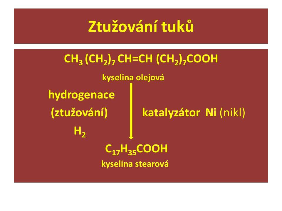 Ztužování tuků CH 3 (CH 2 ) 7 CH=CH (CH 2 ) 7 COOH kyselina olejová hydrogenace (ztužování) katalyzátor Ni (nikl) H 2 C 17 H 35 COOH kyselina stearová