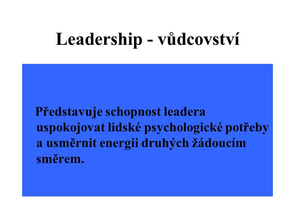 Leadership - vůdcovství Představuje schopnost leadera uspokojovat lidské psychologické potřeby a usměrnit energii druhých žádoucím směrem.