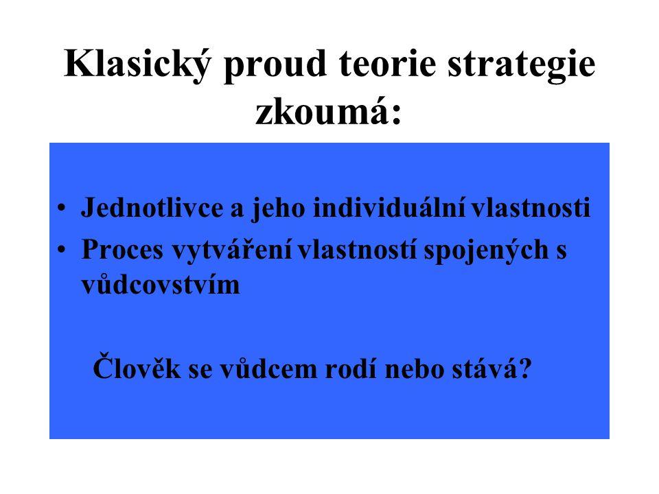 Klasický proud teorie strategie zkoumá: Jednotlivce a jeho individuální vlastnosti Proces vytváření vlastností spojených s vůdcovstvím Člověk se vůdcem rodí nebo stává?
