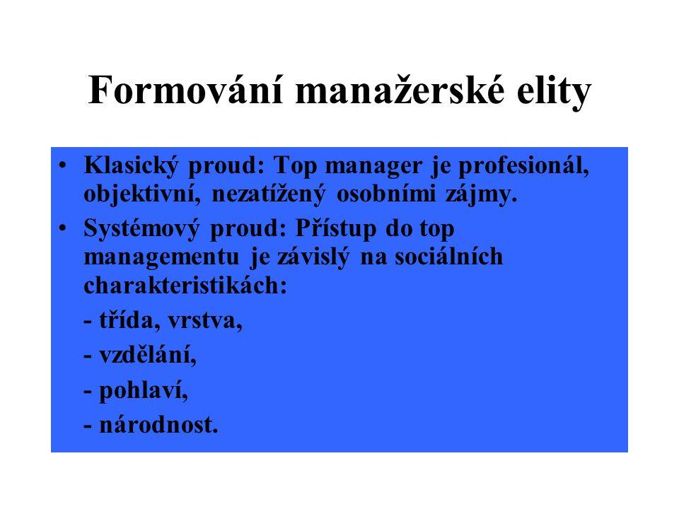 Formování manažerské elity Klasický proud: Top manager je profesionál, objektivní, nezatížený osobními zájmy.