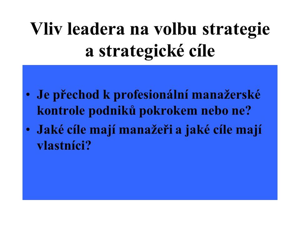 Strategie manažerů versus strategie vlastníků Manažeři usilují především o růst velikosti podniku.